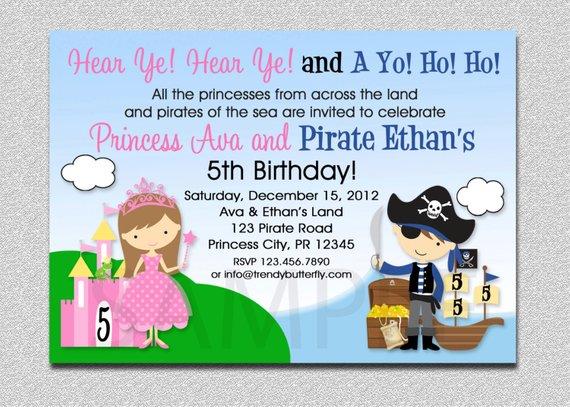 Princess Pirate Birthday Invitation Princess And Pirate Party