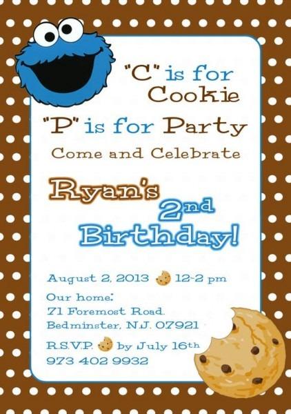 Cookie Monster Invitation Sesame Street Invite Cookie