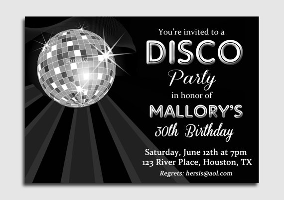 Disco Ball Invitation Printable Or Printed With Free Shipping