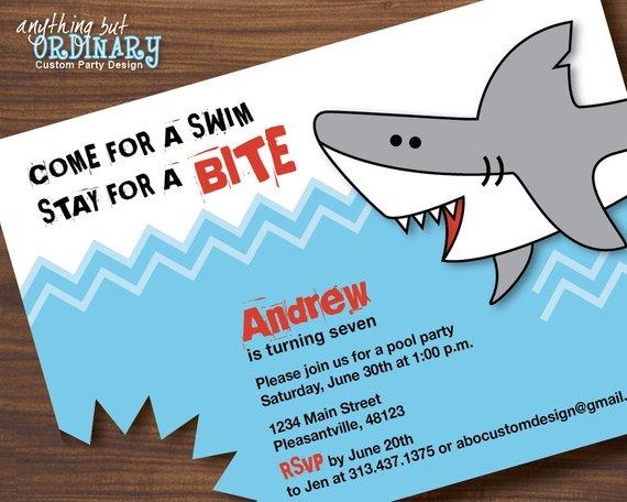 Shark Birthday Invitations Printable Shark Invites Shark