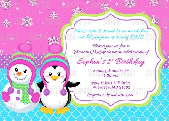 Printable Penguin & Snowman Girl Winter Onederland Birthday