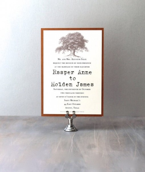 Country Wedding Invitations Oak Tree Wedding Invitations