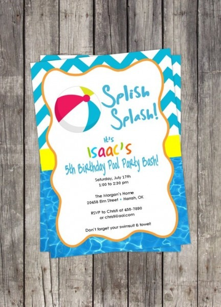 Birthday Party Invitation  Beach Ball   Pool Party   Kids