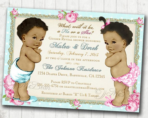 Baby Gender Reveal Invitation African American Twins