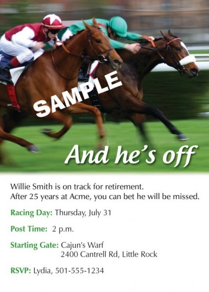 Personalized Horse Racing   Track Retirement Party Invitation