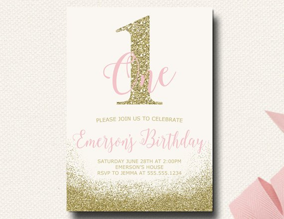 Pink And Gold First Birthday Invitations Glitter Invite