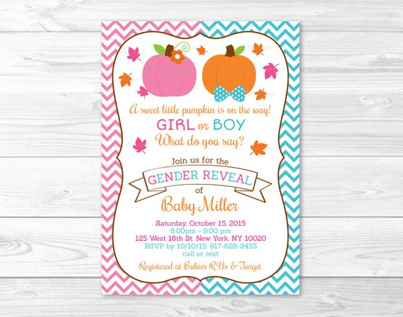 Pumpkin Gender Reveal Invitation   Pumpkin Gender Reveal