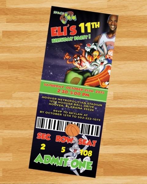 Printable Space Jam Ticket Invite Looneytoons Custom
