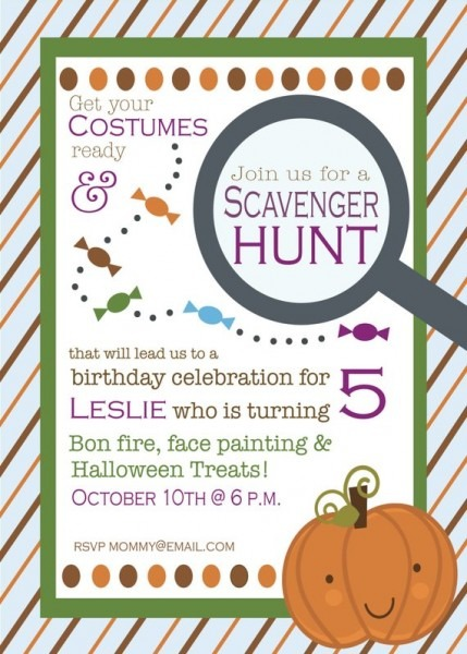 Fall Birthday Scavenger Hunt Invitation
