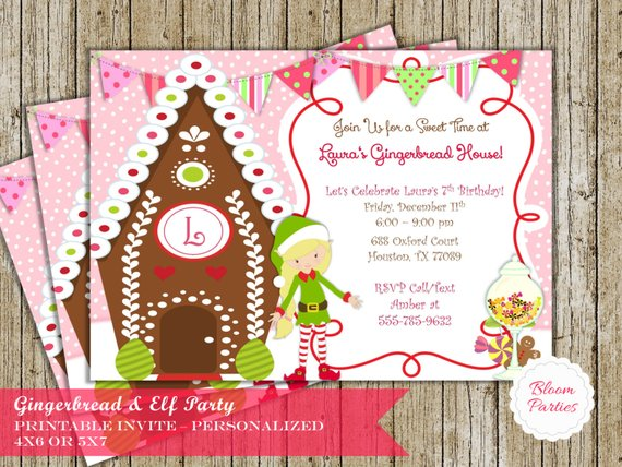 Gingerbread House Elf Girl Invitation Christmas Holiday Sweet