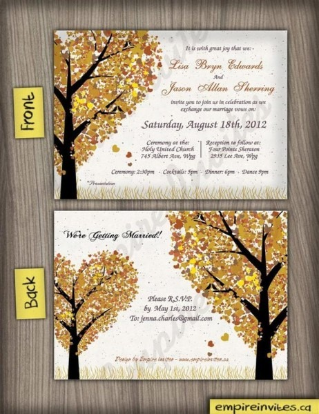 206458 Woodsy Fall Heart Oak Tree Wedding Invitations Fall Wedding