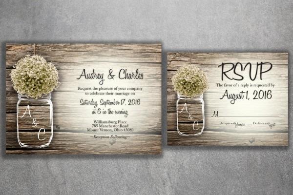 Mason Jar Baby's Breath Flowers Rustic Wedding Invitation Set