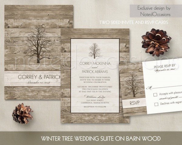 Winter Wedding Invitation Set Oak Tree Winter Tree Wedding