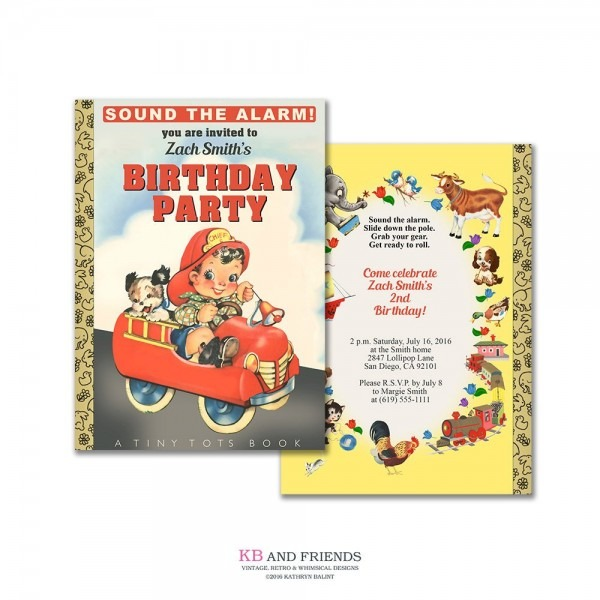 Fire Truck Storybook Birthday Party Invitation   Printable