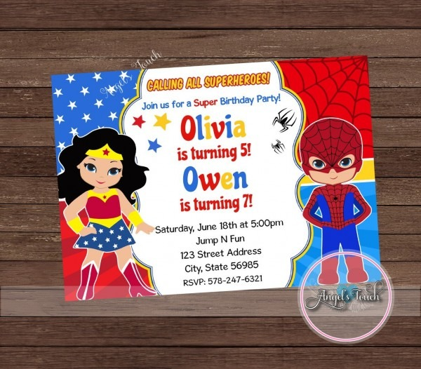 Wonder Woman And Spiderman Party Invitation Wonder Woman And