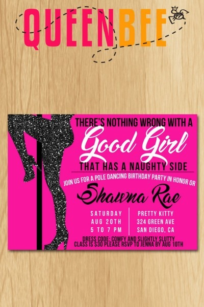 Pole Dancing Birthday Party Invite With Free Game Card