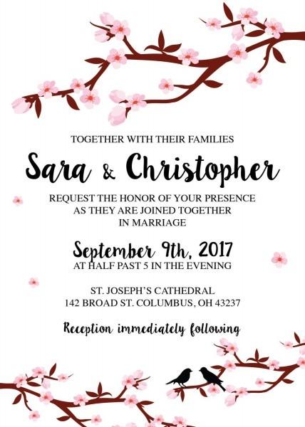 Cherry Blossom Tree Wedding Invitations Set Printed