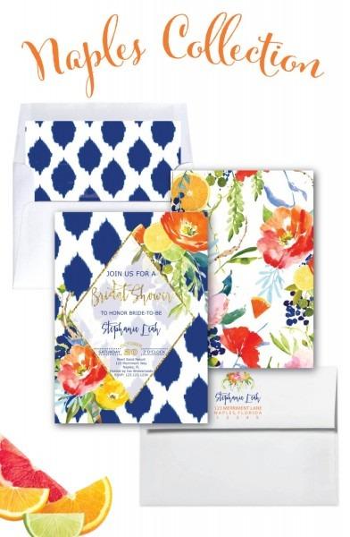 Navy And Orange Bridal Shower Invitation    Floral    Ikat