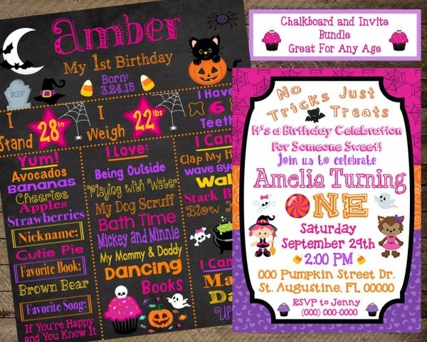 Halloween First Birthday Chalkboard Halloween Invite