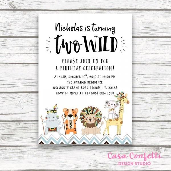 Two Wild Birthday Invitation, Safari Birthday Invitation, Tribal