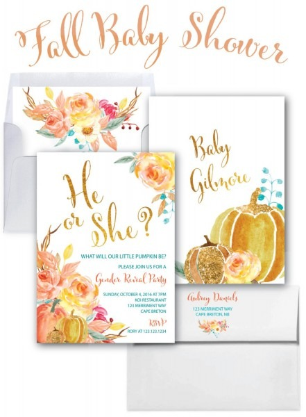 Fall Gender Reveal Invitation    Pumpkin Gender Reveal Invitation