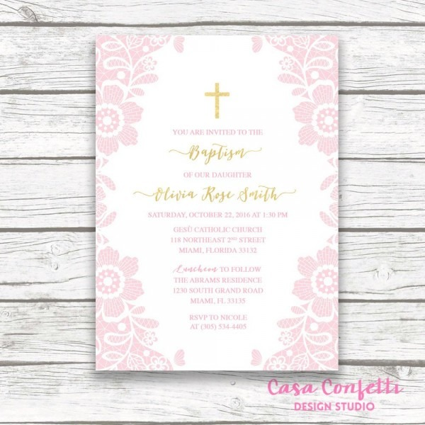 Baptism Invitation Girl, Communion Invitation, Christening