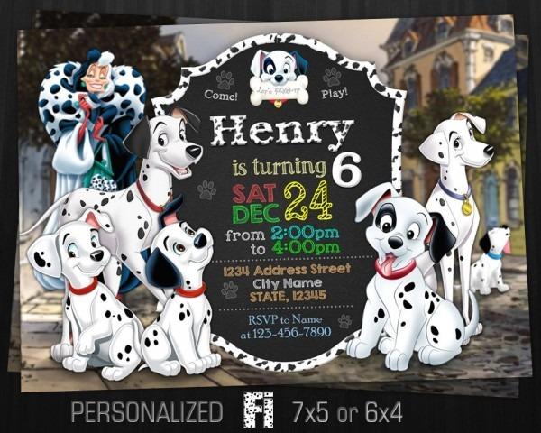 101 Dalmatians Invitation 101 Dalmatians Birthday Party Dogs