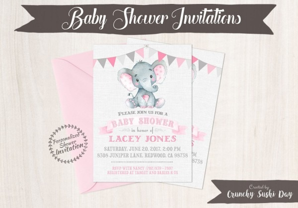 Pink Elephant, Girl Baby Shower Invitations, Printable Invitations