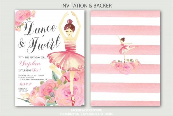 Ballet Birthday Invitation    Ballerina Pink Bridal Shower