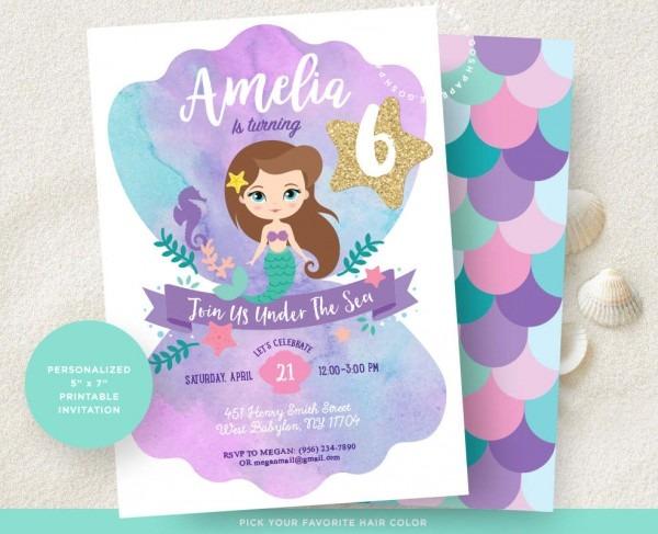 Mermaid Invitation  Little Mermaid Invitation  Mermaid