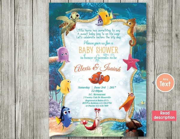 Finding Nemo Invitation Baby Shower Invitation Nemo Baby