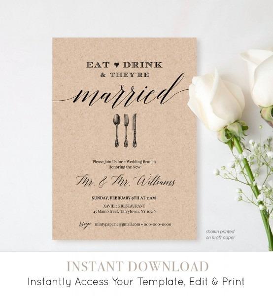 Post Wedding Brunch Invitation Template, Printable Brunch Invite