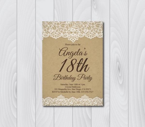 18th Birthday Invitation Vintage Birthday Invitation E