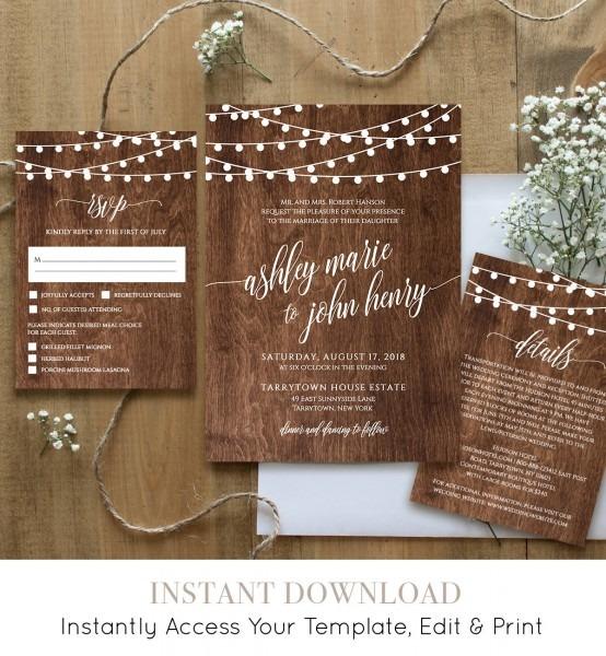Wedding Invitation Template, Printable Rustic Wood String Lights