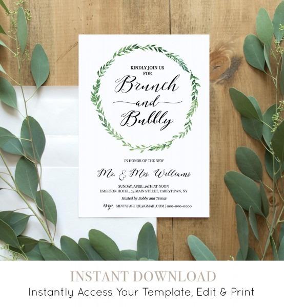 Brunch & Bubbly Invitation Template, Printable Post Wedding Brunch