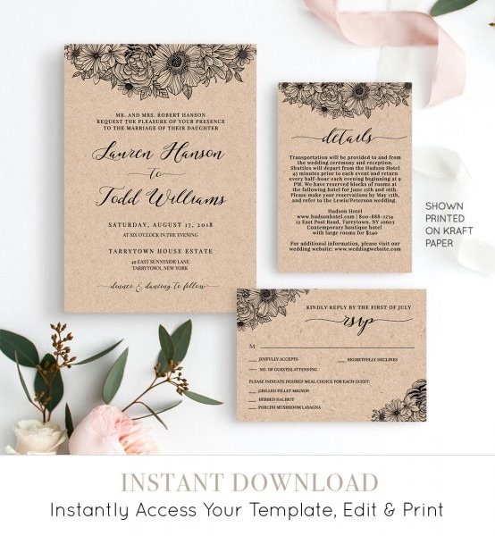 Wedding Invitation Set, Rustic Floral Wedding Invite, Details