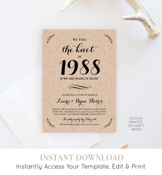 Anniversay Invitation Template, Wedding Vow Renewal Invitation