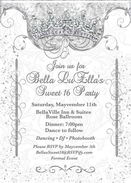 Bling Diamond Party Invitations, Quinceanera Invitation, Party