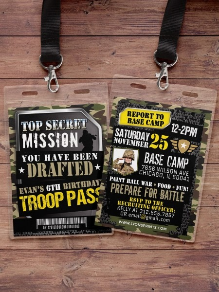 Army Invitation, Toy Gun Invitation, Paintball Invitation, Army