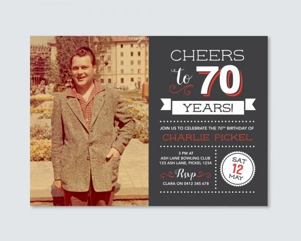 Mens 70th Birthday Invitation   Cheers To 70 Years!   Birthday