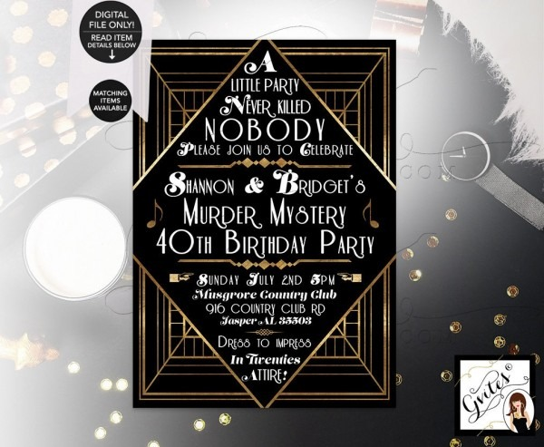 Murder Mystery 40th Birthday Party, Great Gatsby Themed Party