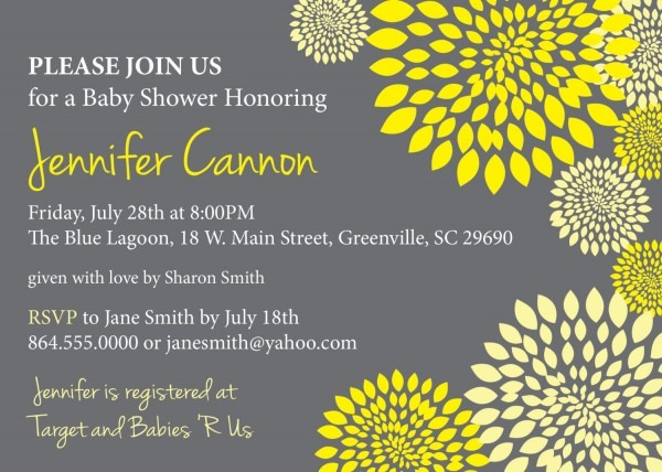 Baby Shower Invitations, Gender Neutral Boy Or Girl Yellow And