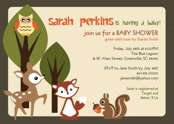 Baby Shower Invitations, Woodland Animals Creatures Forest, Custom
