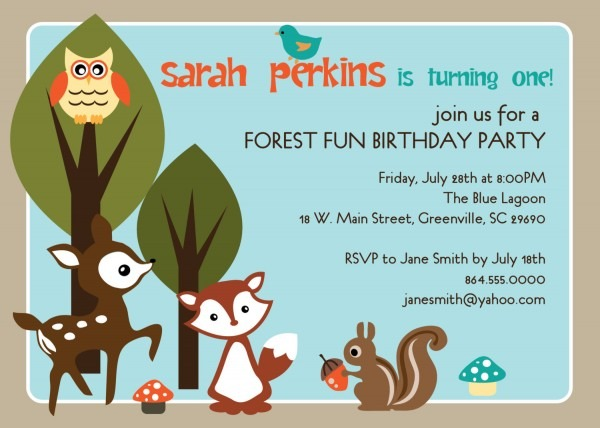 Woodland Birthday Party Invitations, Animals Creatures Forest