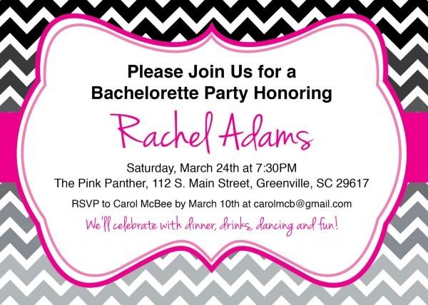 Bachelorette Party Invitations, Bridal Shower, Birthday, Chevron