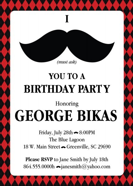 Mustache Argyle Birthday Party Bash Invitations, Manly 30th 40th