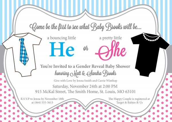 He Or She Gender Reveal Baby Shower Invitations, Pink And Blue