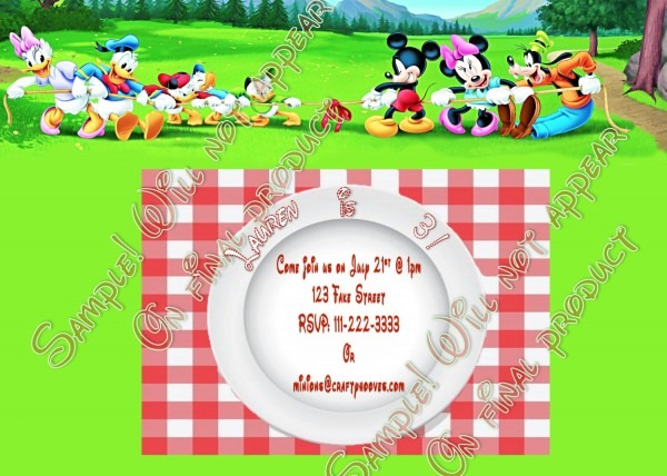 Mickey Mouse Disney Summer Picnic Birthday Party Invitations U