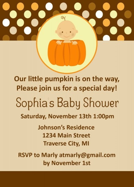 Pumpkin Baby Shower Invitations