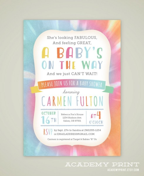 Printable Tie Dye Baby Shower Invitation Gender Neutral